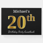 [ Thumbnail: Black, Faux Gold 20th Birthday Party + Custom Name Guest Book ]