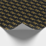 [ Thumbnail: Black, Faux Gold 20th (Twentieth) Event Wrapping Paper ]