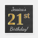 [ Thumbnail: Black, Faux Gold 21st Birthday + Custom Name Napkin ]