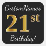 [ Thumbnail: Black, Faux Gold 21st Birthday + Custom Name Sticker ]