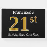 [ Thumbnail: Black, Faux Gold 21st Birthday Party + Custom Name Guest Book ]