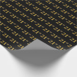 [ Thumbnail: Black, Faux Gold 21st (Twenty-First) Event Wrapping Paper ]