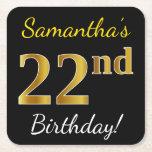 [ Thumbnail: Black, Faux Gold 22nd Birthday + Custom Name Paper Coaster ]
