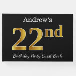 [ Thumbnail: Black, Faux Gold 22nd Birthday Party + Custom Name Guest Book ]
