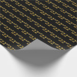 [ Thumbnail: Black, Faux Gold 22nd (Twenty-Second) Event Wrapping Paper ]