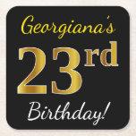 [ Thumbnail: Black, Faux Gold 23rd Birthday + Custom Name Paper Coaster ]