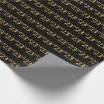 [ Thumbnail: Black, Faux Gold 23rd (Twenty-Third) Event Wrapping Paper ]