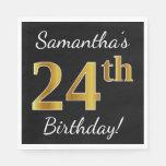 [ Thumbnail: Black, Faux Gold 24th Birthday + Custom Name Napkin ]