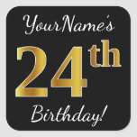 [ Thumbnail: Black, Faux Gold 24th Birthday + Custom Name Sticker ]