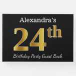 [ Thumbnail: Black, Faux Gold 24th Birthday Party + Custom Name Guest Book ]