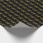 [ Thumbnail: Black, Faux Gold 24th (Twenty-Fourth) Event Wrapping Paper ]