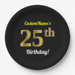 [ Thumbnail: Black, Faux Gold 25th Birthday + Custom Name Paper Plate ]