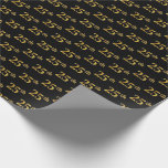 [ Thumbnail: Black, Faux Gold 25th (Twenty-Fifth) Event Wrapping Paper ]