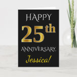 [ Thumbnail: Black, Faux Gold 25th Wedding Anniversary + Name Card ]