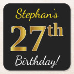 [ Thumbnail: Black, Faux Gold 27th Birthday + Custom Name Paper Coaster ]