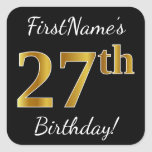 [ Thumbnail: Black, Faux Gold 27th Birthday + Custom Name Sticker ]