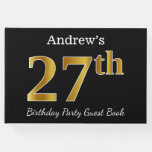 [ Thumbnail: Black, Faux Gold 27th Birthday Party + Custom Name Guest Book ]