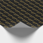 [ Thumbnail: Black, Faux Gold 27th (Twenty-Seventh) Event Wrapping Paper ]
