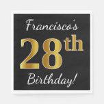[ Thumbnail: Black, Faux Gold 28th Birthday + Custom Name Napkin ]