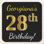 [ Thumbnail: Black, Faux Gold 28th Birthday + Custom Name Paper Coaster ]