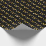 [ Thumbnail: Black, Faux Gold 28th (Twenty-Eighth) Event Wrapping Paper ]