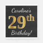 [ Thumbnail: Black, Faux Gold 29th Birthday + Custom Name Napkin ]