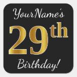 [ Thumbnail: Black, Faux Gold 29th Birthday + Custom Name Sticker ]