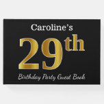 [ Thumbnail: Black, Faux Gold 29th Birthday Party + Custom Name Guest Book ]
