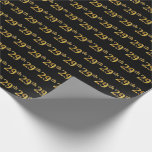 [ Thumbnail: Black, Faux Gold 29th (Twenty-Ninth) Event Wrapping Paper ]