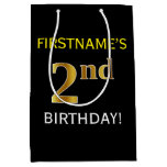 [ Thumbnail: Black, Faux Gold 2nd Birthday + Custom Name Gift Bag ]