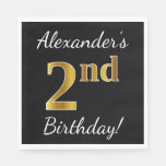 [ Thumbnail: Black, Faux Gold 2nd Birthday + Custom Name Napkin ]