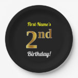 [ Thumbnail: Black, Faux Gold 2nd Birthday + Custom Name Paper Plate ]