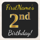 [ Thumbnail: Black, Faux Gold 2nd Birthday + Custom Name Paper Coaster ]
