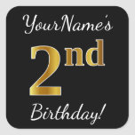 [ Thumbnail: Black, Faux Gold 2nd Birthday + Custom Name Sticker ]
