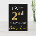 [ Thumbnail: Black, Faux Gold 2nd Wedding Anniversary + Name Card ]