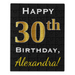 [ Thumbnail: Black, Faux Gold 30th Birthday + Custom Name Jigsaw Puzzle ]