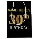 [ Thumbnail: Black, Faux Gold 30th Birthday + Custom Name Gift Bag ]