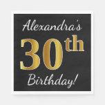 [ Thumbnail: Black, Faux Gold 30th Birthday + Custom Name Paper Napkin ]