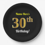 [ Thumbnail: Black, Faux Gold 30th Birthday + Custom Name Paper Plate ]