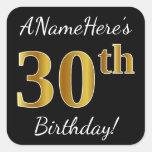 [ Thumbnail: Black, Faux Gold 30th Birthday + Custom Name Sticker ]