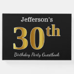 [ Thumbnail: Black, Faux Gold 30th Birthday Party + Custom Name Guest Book ]