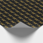 [ Thumbnail: Black, Faux Gold 30th (Thirtieth) Event Wrapping Paper ]