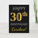 [ Thumbnail: Black, Faux Gold 30th Wedding Anniversary + Name Card ]