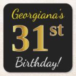 [ Thumbnail: Black, Faux Gold 31st Birthday + Custom Name Paper Coaster ]