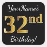 [ Thumbnail: Black, Faux Gold 32nd Birthday + Custom Name Sticker ]