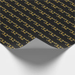 [ Thumbnail: Black, Faux Gold 32nd (Thirty-Second) Event Wrapping Paper ]