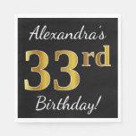 [ Thumbnail: Black, Faux Gold 33rd Birthday + Custom Name Napkin ]
