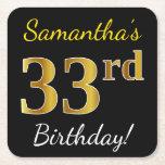 [ Thumbnail: Black, Faux Gold 33rd Birthday + Custom Name Paper Coaster ]