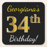 [ Thumbnail: Black, Faux Gold 34th Birthday + Custom Name Paper Coaster ]
