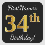 [ Thumbnail: Black, Faux Gold 34th Birthday + Custom Name Sticker ]